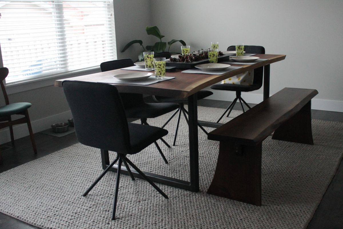 live edge wood dinner table with live edge wood bench with decor
